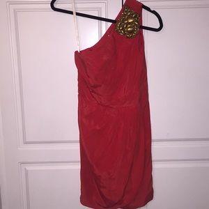 Nordstrom Shoshanna one shoulder silk gold dress
